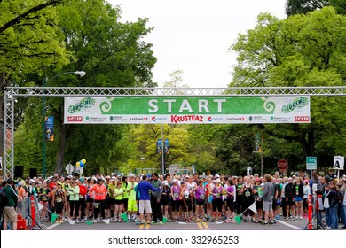 EUGENE, OR - APRIL 28, 2013: Starting line staged and ready to send off a wave of runners at the 2013 Eugene Marathon.