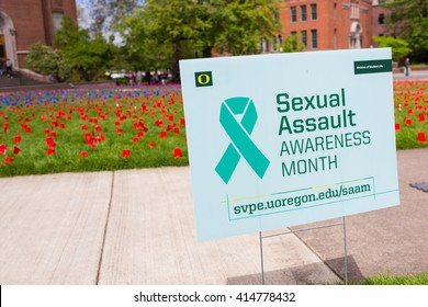EUGENE, OR - APRIL 28, 2016: Sexual Assault Awareness Month demonstration and visual display on the lawn in front of the Lillis Business School on University of Oregon campus.
