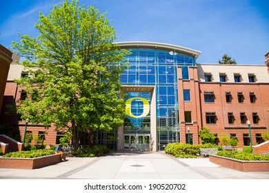 EUGENE, OR - APRIL 29, 2014: Lillis School of Business building exterior on a Spring day at the University of Oregon.