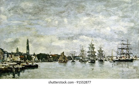 """Eugene Boudin """"The harbor of Antwerp"""". Illustration from the book """"Paintings by contemporary artists in paint,"""" publisher by Knebel, Moscow, Russia, 1904."""