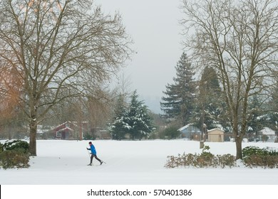 EUGENE, OR - JANUARY 7, 2017: Cross country skier enjoys a massive Winter storm in Eugene Oregon.