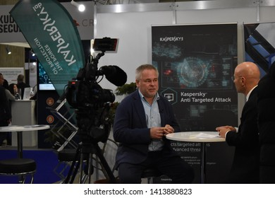 Eugene Kaspersky giving an interview on television at the Swiss Cyber Security Days 2019 in Fribourg, Switzerland  Fribourg, Fribourg/Switzerland - February 27 2019