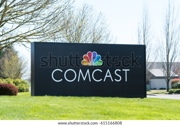 EUGENE, OR - MARCH 31, 2017: Branch sign for Comcast Cable, also known as Xfinity, in Eugene Oregon.
