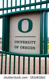 EUGENE, OR - MARCH 4, 2014: University of Oregon logo sign on campus.