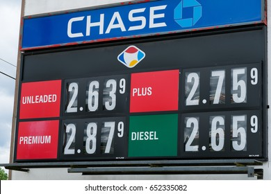 EUGENE, OR - MAY 17, 2017: Gas prices on a reader board at Fred Meyer in Eugene Oregon.