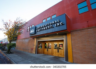 EUGENE, OR - NOVEMBER 21, 2015: Recreational Equipment, Inc., or REI as commonly referred to, storefront in Eugene Oregon.