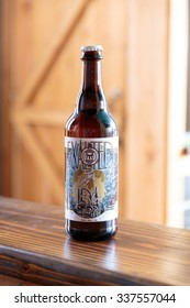EUGENE, OR - NOVEMBER 4, 2015: Award winning beer Exalted IPA at the startup craft brewery Mancave Brewing.