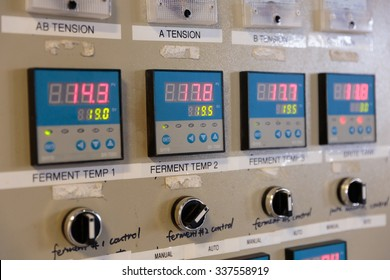 EUGENE, OR - NOVEMBER 4, 2015: Electrical control panel for temperature control of fermenters and mashing machines at the startup craft brewery Mancave Brewing.