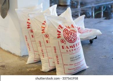 EUGENE, OR - NOVEMBER 4, 2015: German pale ale malt in bulk bags from a large shipment at the startup craft brewery Mancave Brewing.