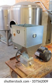 EUGENE, OR - NOVEMBER 4, 2015: Grain milling measuring device at the startup craft brewery Mancave Brewing.
