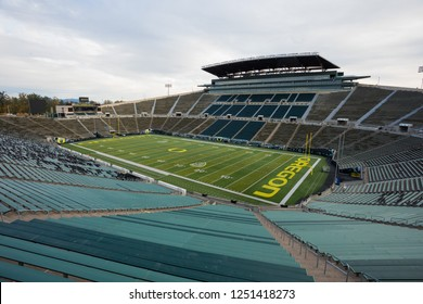 Eugene, OR - October 23, 2018: Empty Autzen Stadium and Rich Brooks Field on the University of Oregon campus where the Ducks football team plays home games.