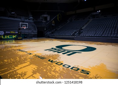 Eugene, OR - October 7, 2018: Empty Matthew Knight Arena in Eugene Oregon where the University of Oregon Ducks basketball team plays their home games.