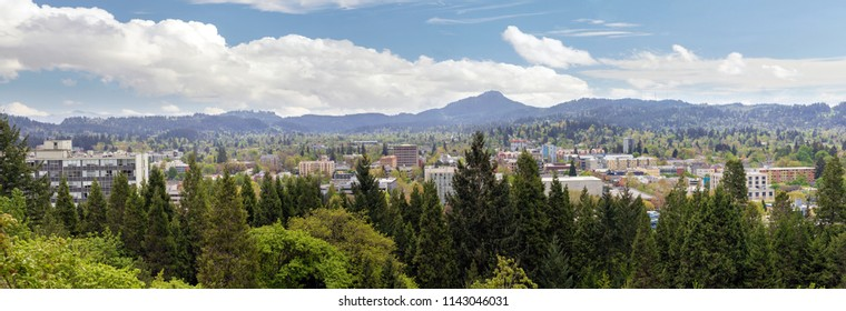 Eugene Oregon downtown cityscape from Skinner Butte Park viewpoint during spring panorama