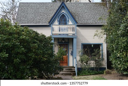 Eugene, Oregon USA - March 20, 2019: The Gothic Revival style Mims House, built 1867, in the Skinner Butte Park Old Town section, the first house owned by a person of color in the city, 1948.