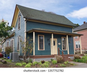 Eugene, Oregon USA - March 20, 2019: The Gothic Revival style Mims House II, 1870, in the Skinner Butte Park area, the oldest house on its original site in Old Town