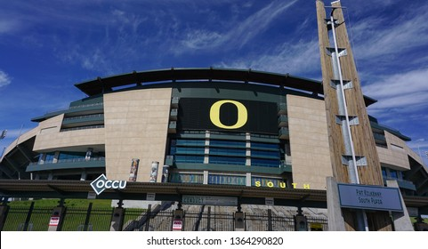 Eugene, Oregon USA - March 31, 2019: University of Oregon Autzen Stadium viewed from the South Plaza entrance, location for Oregon Ducks football team