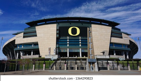 Eugene, Oregon USA - March 31, 2019: University of Oregon Autzen Stadium viewed from the South Plaza entrance, venue for Oregon Ducks football team