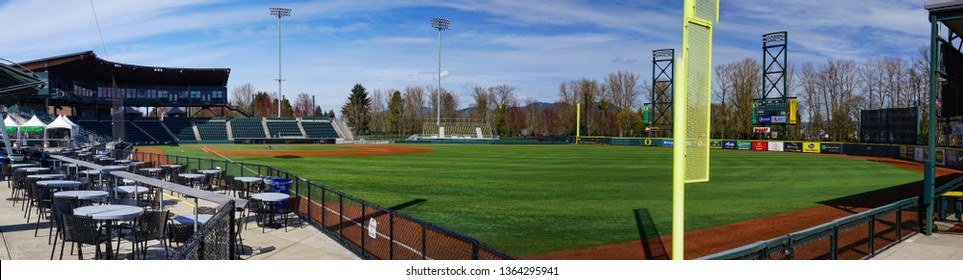 Eugene, Oregon USA - March 31, 2019: Panorama of PK Park baseball field, home field of Eugene Emerald and University of Oregon Ducks baseball teams on Martin Luther King Jr. Boulevard