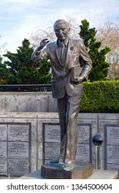 Eugene, Oregon USA - March 31, 2019: Statue of United States Senator Wayne Morse at Lane County Courthouse in Wayne Morse Free Speech Plaza. He served Oregon and lived in Eugene.