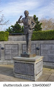Eugene, Oregon USA - March 31, 2019: Statue of United States Senator Wayne Morse, who served Oregon and lived in Eugene. In Wayne Morse Free Speech Plaza of the Lane County Court complex