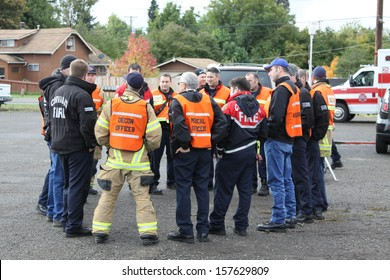 EUGENE, OREGON, USA Â?Â? November 3, 2011: The fire departments and emergency response teams in Eugene conduct disaster preparedness drills. Communication between individuals is of utmost importance.