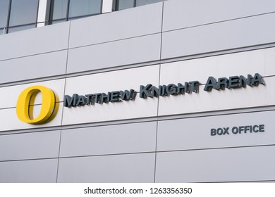 Eugene, OR - September 22, 2018: Matthew Knight Arena sign at the University of Oregon in the city of Eugene on campus.