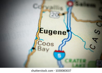 Eugene. USA on a map.