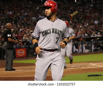 Eugenio Suarez 3rd basemen for the Cincinnati Reds at Chase Field in Phoenix Arizona USA May 28,2018.