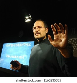 Eulji-ro, Seoul, South Korea, June 01, 2018: The Grevin Wax Museum displays life-size beeswax figures of world famous persons. One is Steve Jobs, an American who is The Apple Computers Co-Founder.