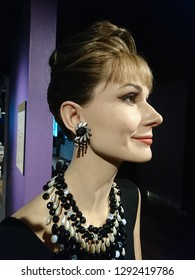 Eulji-ro, Seoul, South Korea, June 01, 2018: The Grevin Wax Museum displays life-size beeswax figures of world famous persons like Audrey Hepburn who was an American actress  and godmother of UNICEF.