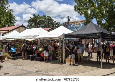 EUMUNDI, AUSTRALIA – January 6, 2018: Since 1979, the Eumandi Markets are a source of energy, variety, fresheness and friendliness of the town of Eumundi in the Sunshine Coast of Australia