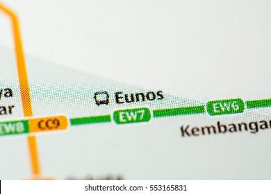Eunos Station. Singapore Metro map.