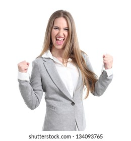 Euphoric and young businesswoman on a white isolated background