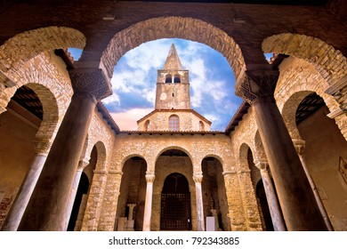 Euphrasian Basilica in Porec arcades and tower view, UNESCO world heritage site in Istria, Croatia