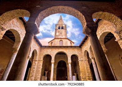 Euphrasian Basilica in Porec arcades and tower view, UNESCO world heritage site in Istria, Croatia