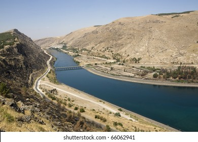 Euphrates River at Ataturk Dam - Anatolia - (Turkish: Ataturk Baraji) -Built both to generate electricity and to irrigate the plains in the region - Sanliurfa Province -