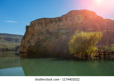 Euphrates River and Rumkale fortress close to Halfeti, Antep Turkey