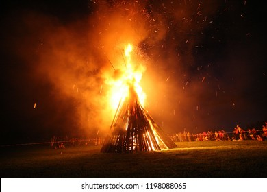 Eurasburg, Germany - June 24,2006: fire at midsummer night