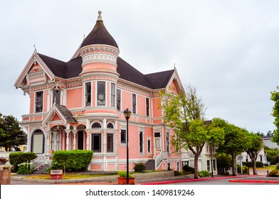 Eureka, CA - Aug. 7, 2013: The Carson House. Also known as the 'Pink Lady', this is a classic Queen Anne Victorian home completed in 1889 for William Carson, a pioneer lumber baron of northern CA.