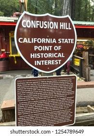 Eureka, CA - November 19, 2018: Confusion Hill oddity park in the California Redwoods National and State Parks in Northeast California.