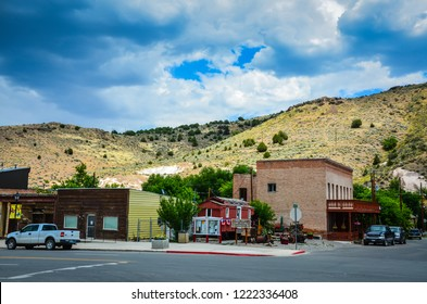 Eureka, NV / USA - 07-18-2013: The town of Eureka, Nevada, once a prosperous mining town,  now boasts a population of 610 on the loneliest highway in Nevada.