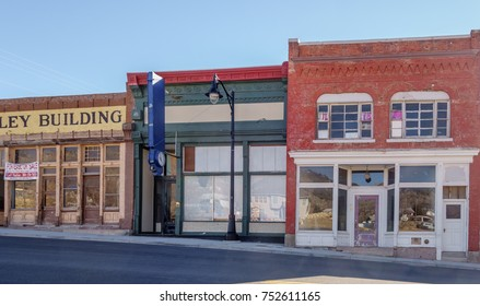 Eureka, Utah/USA - November 9, 2017. Numerous empty storefronts line Main Street, also known as Historic Route 6, in the once prosperous 19th century mining town in the Tintic Mining District.
