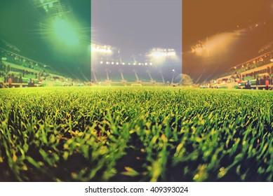 euro 2016 stadium with blending Ireland flag