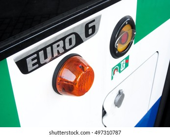 Euro 6 label on bus for clean urban transport