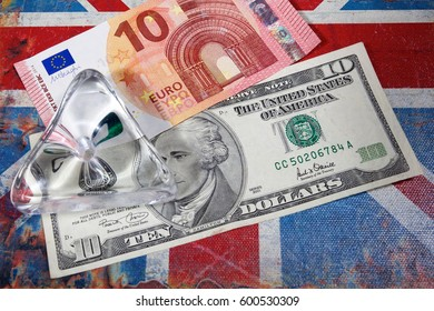 euro and american dollar on British flag