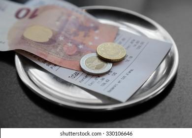 Image result for restaurant bill euros stock image