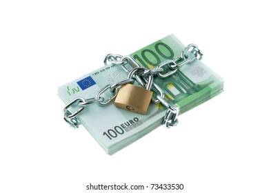 Euro bank notes with a lock and chain. Money stack for safety and investment.