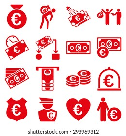 Euro banking business and service tools icons. These flat icons use red color. Images are isolated on a white background. Angles are rounded.
