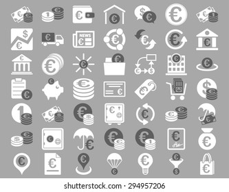 Euro Banking Icons. These flat bicolor icons use dark gray and white colors. Glyph images are isolated on a silver background.