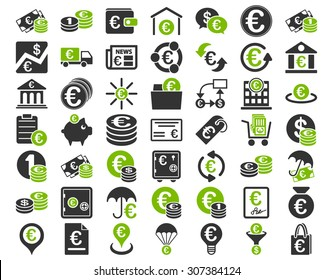 Euro Banking Icons. These flat bicolor icons use eco green and gray colors. Glyph images are isolated on a white background.